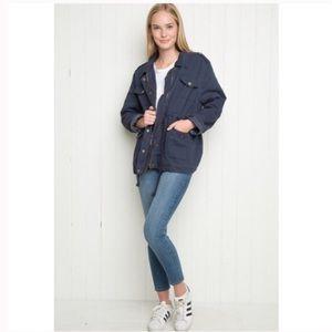 Brandy Melville Navy Doris Sherpa Lined Jacket
